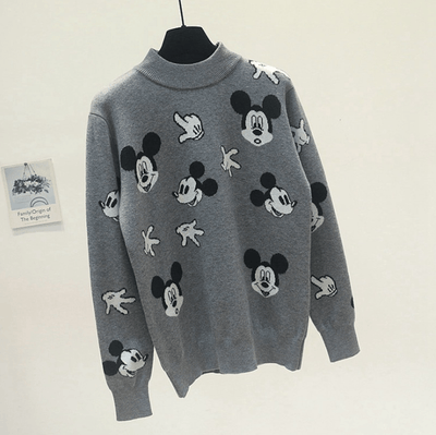 2020 Mickey Mouse Fashion Cute Sweater C Clothing 1928Mickey Free Size Gray