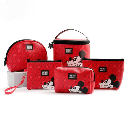 Genuine Mickey Mouse Makeup-Bag, Storage Bag -Red 1928Mickey ALL(5pcs)