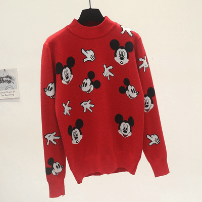 2020 Mickey Mouse Fashion Cute Sweater C Clothing 1928Mickey Free Size Red