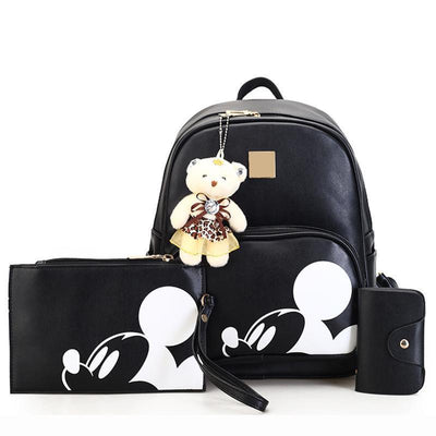 3Pcs/Set Portable Cute Mouse and Bear Composite Backpacks Backpack 1928Mickey BLACK