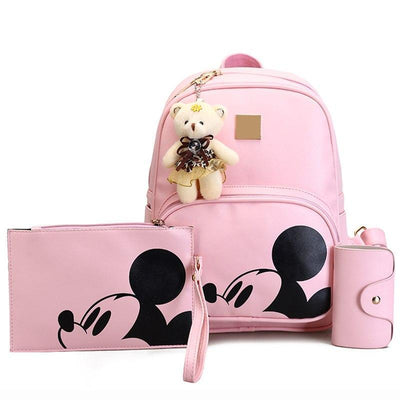 3Pcs/Set Portable Cute Mouse and Bear Composite Backpacks Backpack 1928Mickey PINK