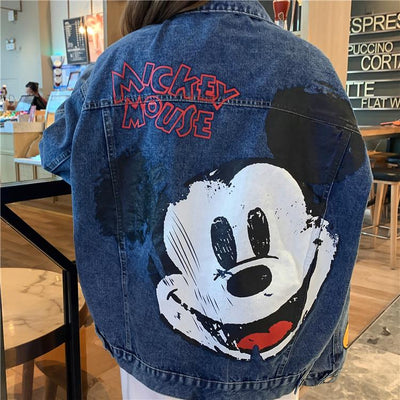 Women's Mickey Mouse Print Denim Jacket Clothing 1928Mickey