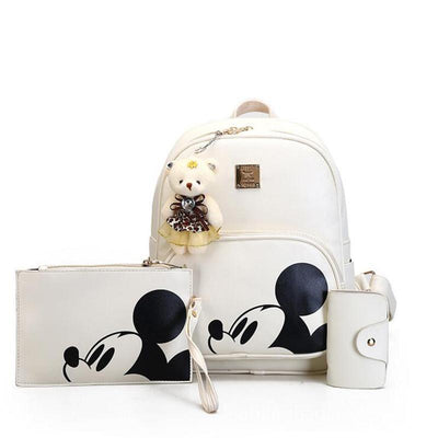3Pcs/Set Portable Cute Mouse and Bear Composite Backpacks Backpack 1928Mickey WHITE
