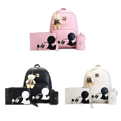 3Pcs/Set Portable Cute Mouse and Bear Composite Backpacks Backpack 1928Mickey