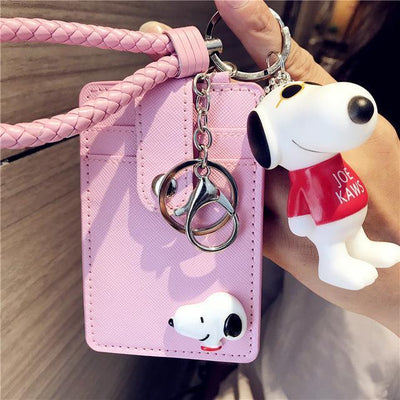 Cartoon Snoopy Style ID Card Bag With Key Ring Wallets 1928Mickey Pink