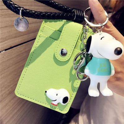 Cartoon Snoopy Style ID Card Bag With Key Ring Wallets 1928Mickey Grass Green