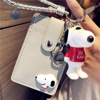 Cartoon Snoopy Style ID Card Bag With Key Ring Wallets 1928Mickey Gray