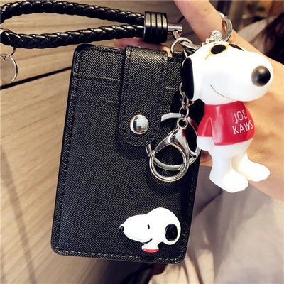 Cartoon Snoopy Style ID Card Bag With Key Ring Wallets 1928Mickey