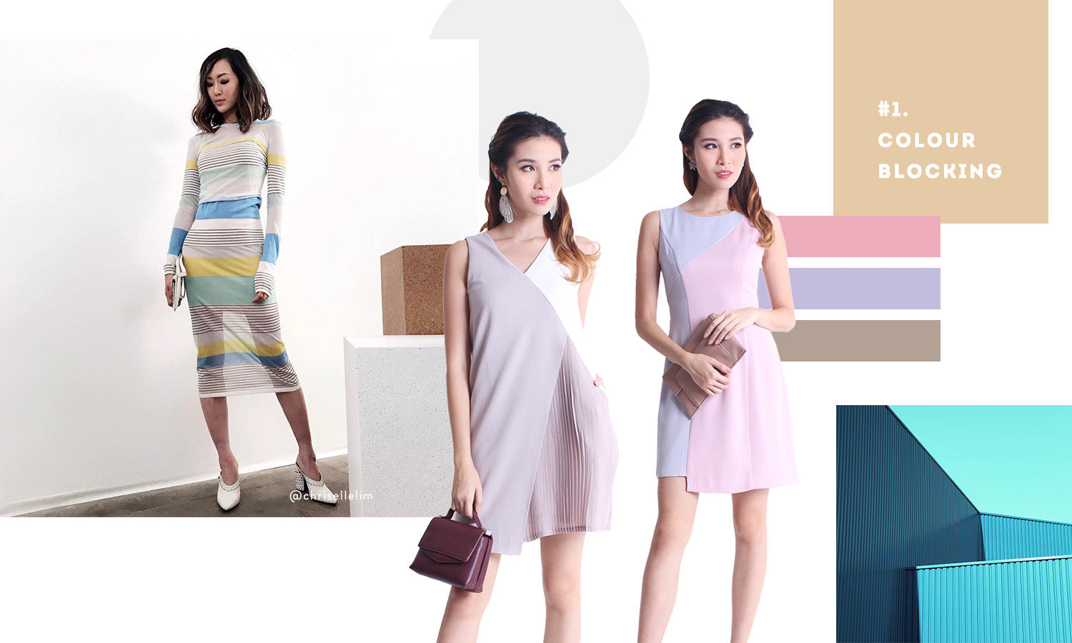 colourblocking dress and pastel colours