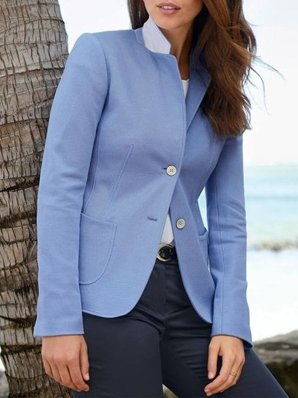 Fashion Solid Stand Collar Jacket
