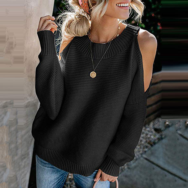Fashion Women's Fashion Solid Color Bat Sleeves Off-the-shoulder Knit Pullover/Sweater