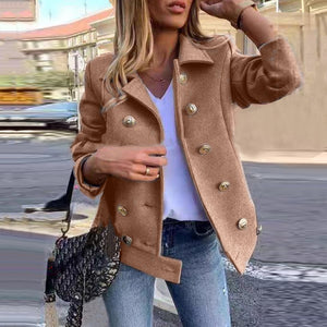 Solid color double-breasted long-sleeved coat