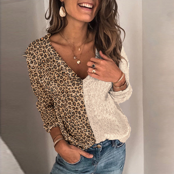 Fashion V-collar Splicing Leopard Print Sweater