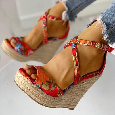 Women's Floral Chain Detail   Platform Wedge Sandals