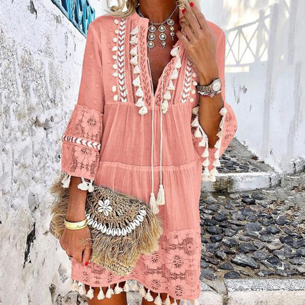 Bohemian Women's V-Neck Lace Dress