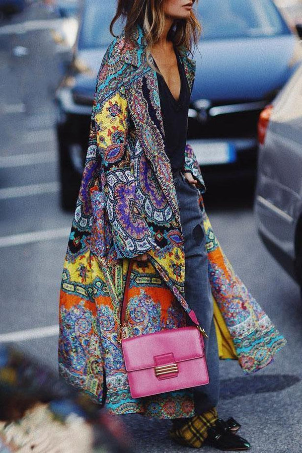 Chic Ethnic Wide Lapel Floral Printed Oversize Long Coat
