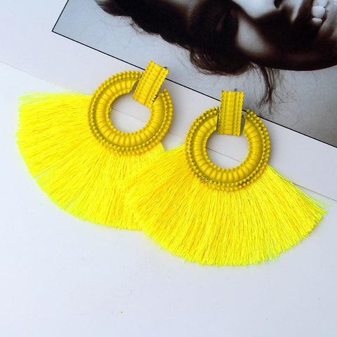Bohemian Fan-Shaped Silk Tassel Earrings