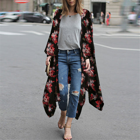 Chic Floral Printed Loose Black Long Cardigan