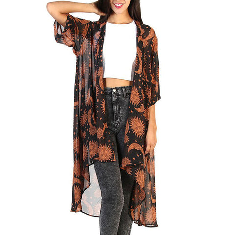 Fashion Loose Printed Chiffon Long Cardigan