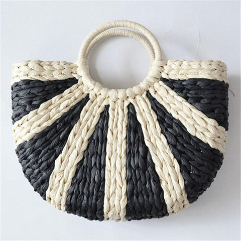 Fashion Blue Patchwork Straw Weaving Tote Bags