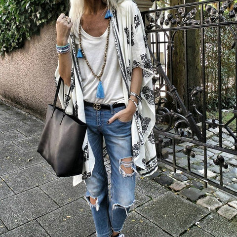 Fashion Printed Medium Sleeve Cardigan Shirt
