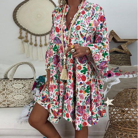 Bohemian Stand Collar Long Sleeve Ruffled Casual Mini Dress