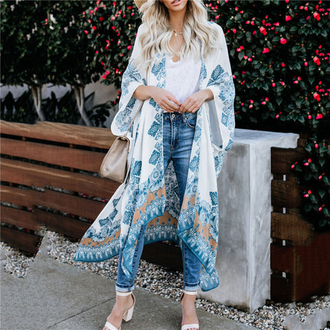 Women's Printed Loose Lace Chiffon Long Sleeve Cardigans