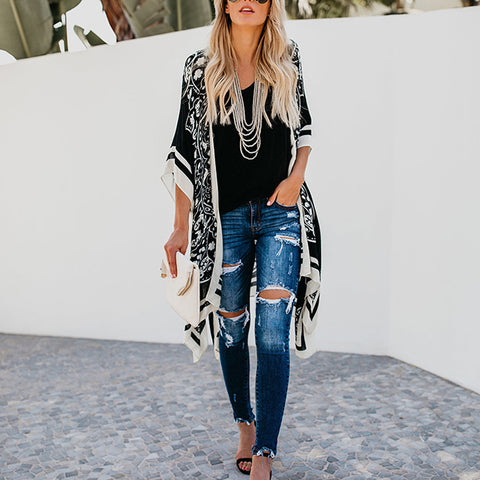 Printed Loose Casual Long Blouse Coat Cardigan
