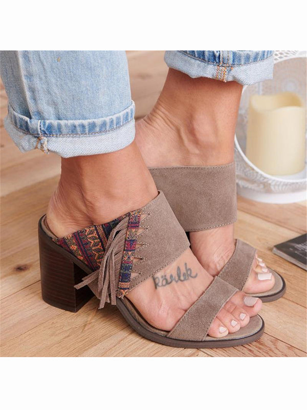 Women's ethnic style print   tassel high heel sandals