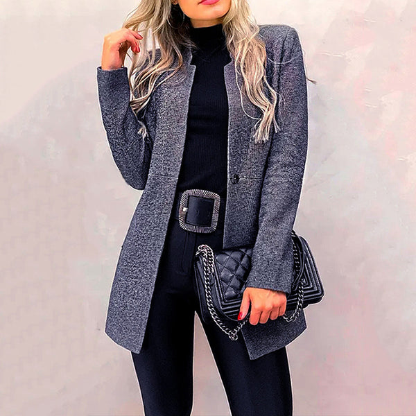 Timeoct Fashion Tailored Collar Long Sleeve Splicing Winter Coat