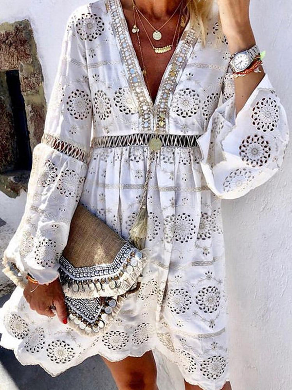 Bohemian Fashion V Neck Hollow Out Floral Pattern Long Sleeve Dress