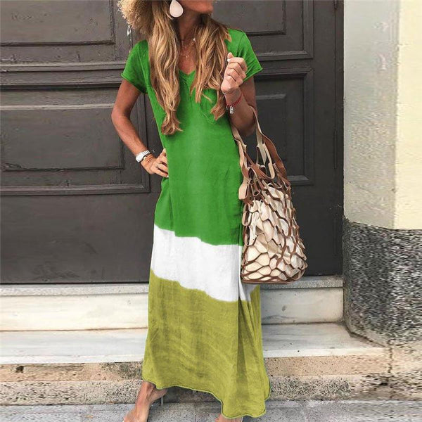 Bohemian Sheinnow Ankle-Length Short Sleeve V-Neck Pullover Casual Maxi Dress