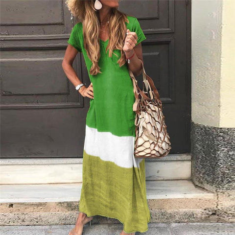 Sheinnow Ankle-Length Short Sleeve V-Neck Pullover Casual Maxi Dress
