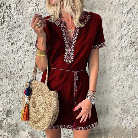 Print Short Sleeve Loose V-Neck   Dress