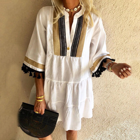 Fringed Stitching Casual Mini Dress