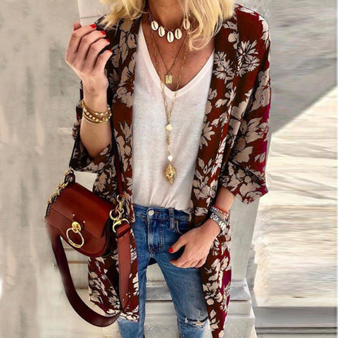 Loose Mid-Length Printed Cardigan Coat