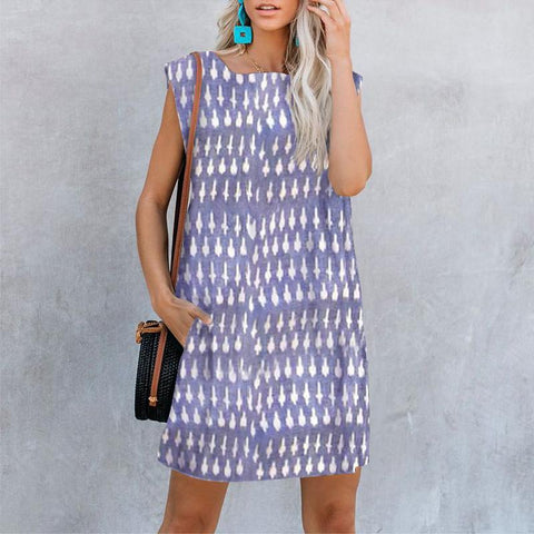Sleeveless Printed Casual Dress