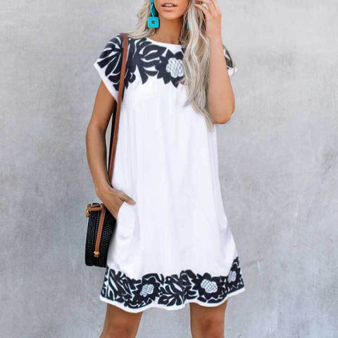 Round Neck Straight Print Dress