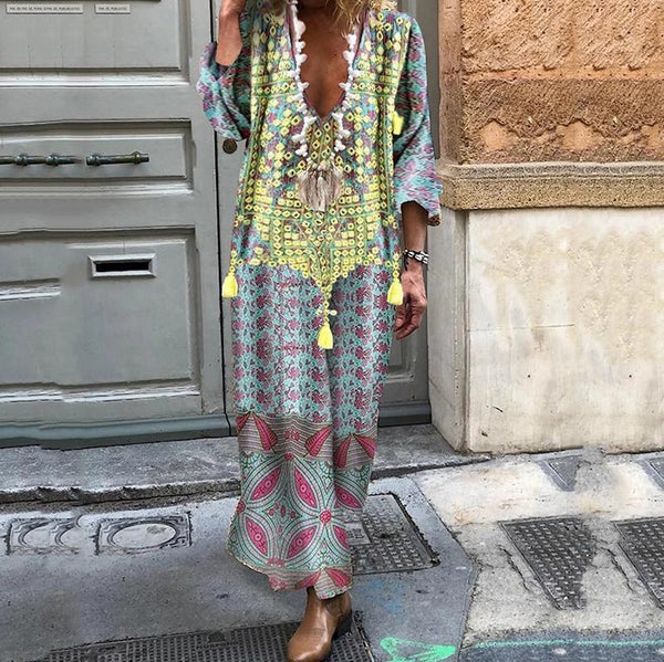 Bohemian Adoradress Bohemian Print Casual Maxi Dress