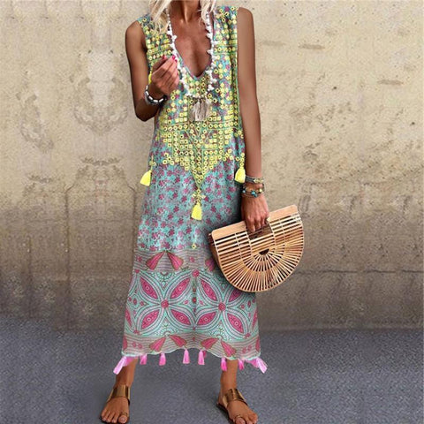 Vintage Printed Stitching V-Neck Tassel Pendant Sleeveless Dresses