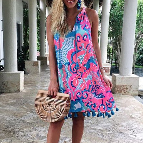 Women's Bohemian Print Tassel Sleeveless Dress