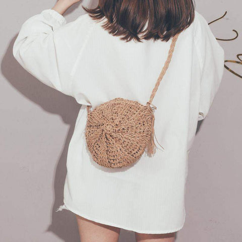 Contracted Syle Summer Hollowed-Out Tassels Design Straw Bag Messenger Bag
