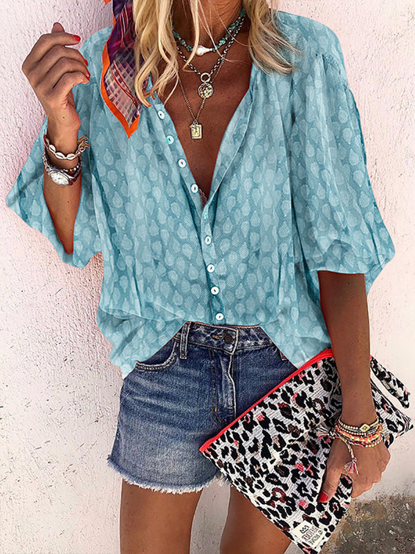 Bohemian Women's Athleisure Single-Breasted Middle Sleeve Pure Color Blouse