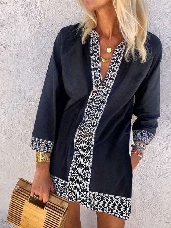 Bohemian Fashion V-Neck Ethnic Print Dress