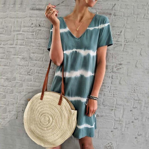 Casual Dyed Halter Mid-Length Loose Dress