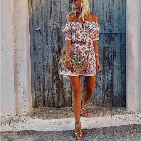 Off Shoulder Floral Print Vacation Casual Mini Dress