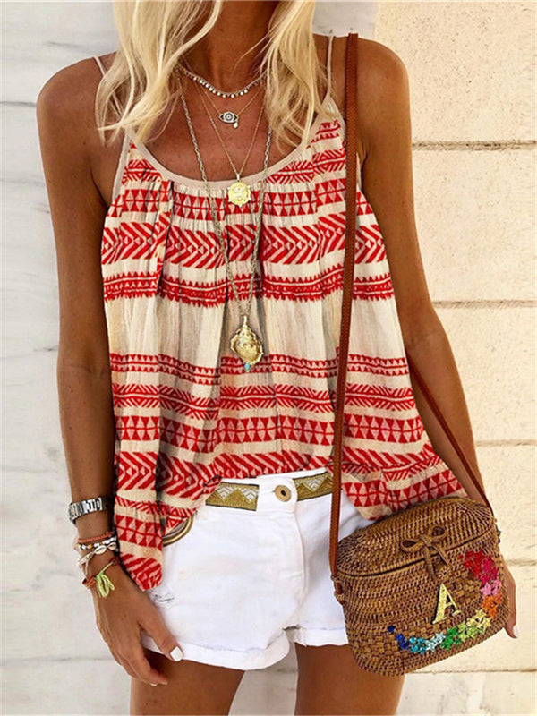 Bohemian Casual Sexy Strap Geometric Printed T-Shirts