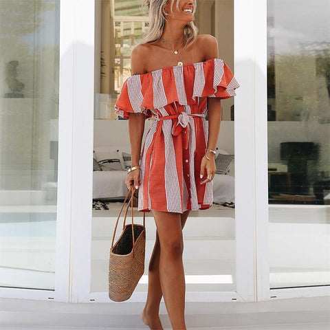 Fashion Striped Belted Ruffled Layered Single-Breasted Casual Vacation Mini Dress