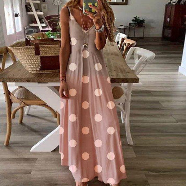 Bohemian Casual Polka Dot Deep V Neck Spaghetti Strap Dress