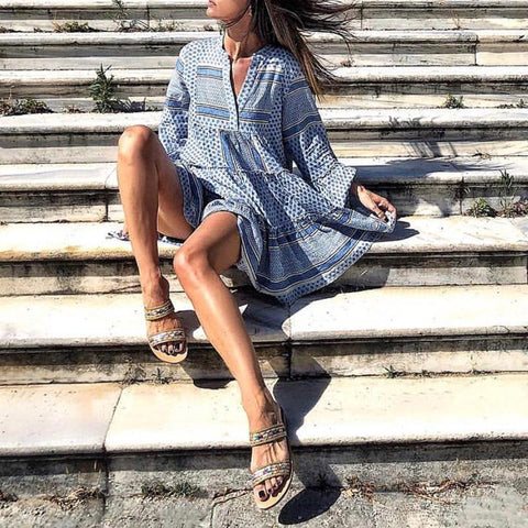 Fashion Bohemian Print Vacation Casual Mini Dress